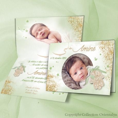 Faire-part naissance main fatma Amine