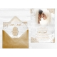 Echantillon Satin Faire-part Mariage - Main fatma or