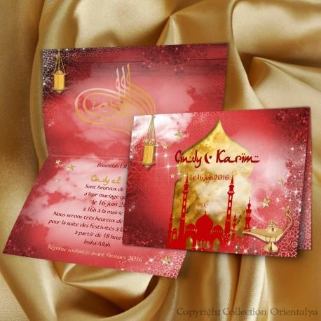 Faire-part mariage Palais Oriental - Rouge