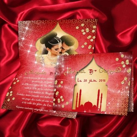 Faire-part mariage oriental Nuit d'Orient - rouge or