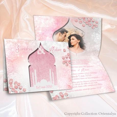 Faire-part de mariage Nuit d'orient Rose