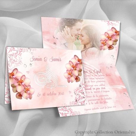Faire-part Orchidées Bismillah - Rose
