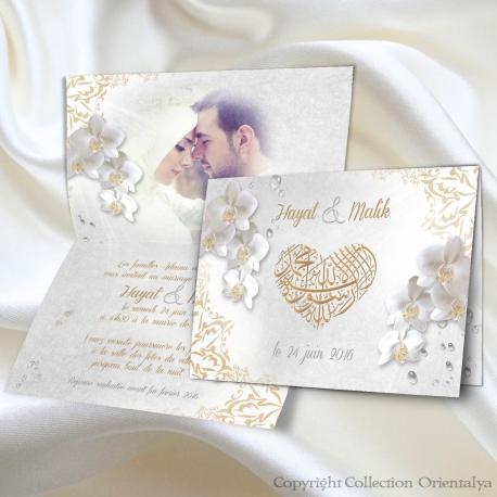 Beliebt Faire-part de mariage oriental Orchidées Bismillah LQ07