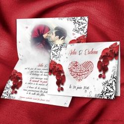 Faire-part Orchidées Bismillah - Rouge