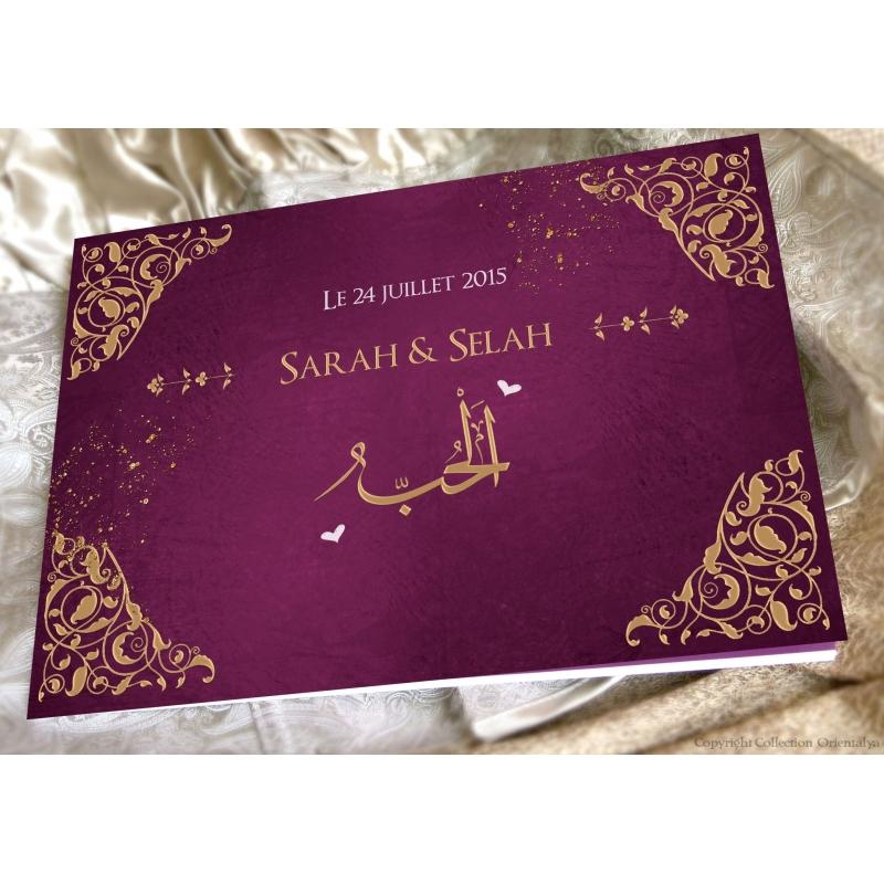 livre dor arabesques prune - Livre D Or Mariage Oriental