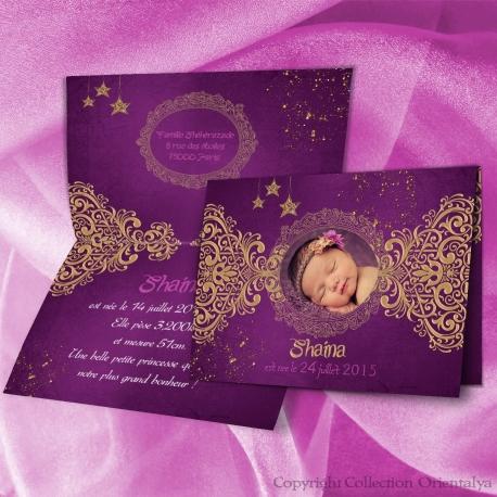 Faire-part de naissance oriental et musulman violet et or