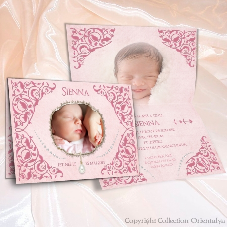 Faire-part Sienna de naissance oriental et musulman rose