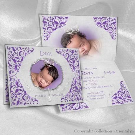Faire-part de naissance oriental et musulman violet