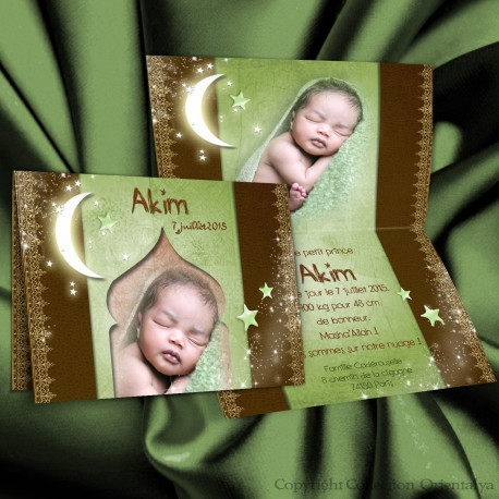 Faire-part de naissance AKIM oriental et musulman anis chocolat avec étoiles et lune