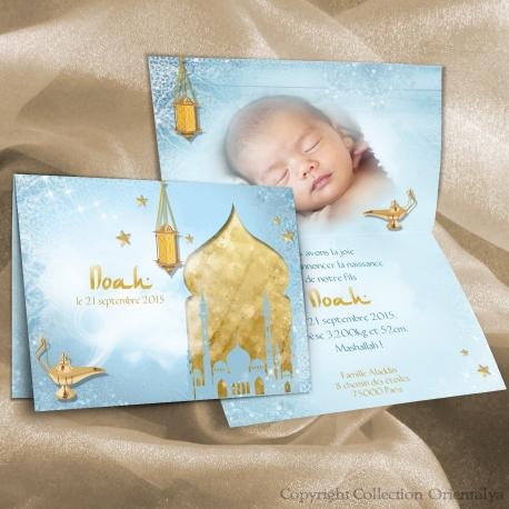 Faire-part NOAH de naissance oriental et musulman bleu et or