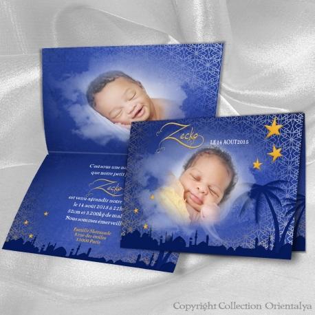 Faire-part de naissance oriental et musulman bleu nuit avec ses étoiles