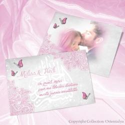 Remerciement Papillons - Rose