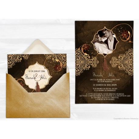 Echantillon Satin Faire-part Mariage - Oriental chic